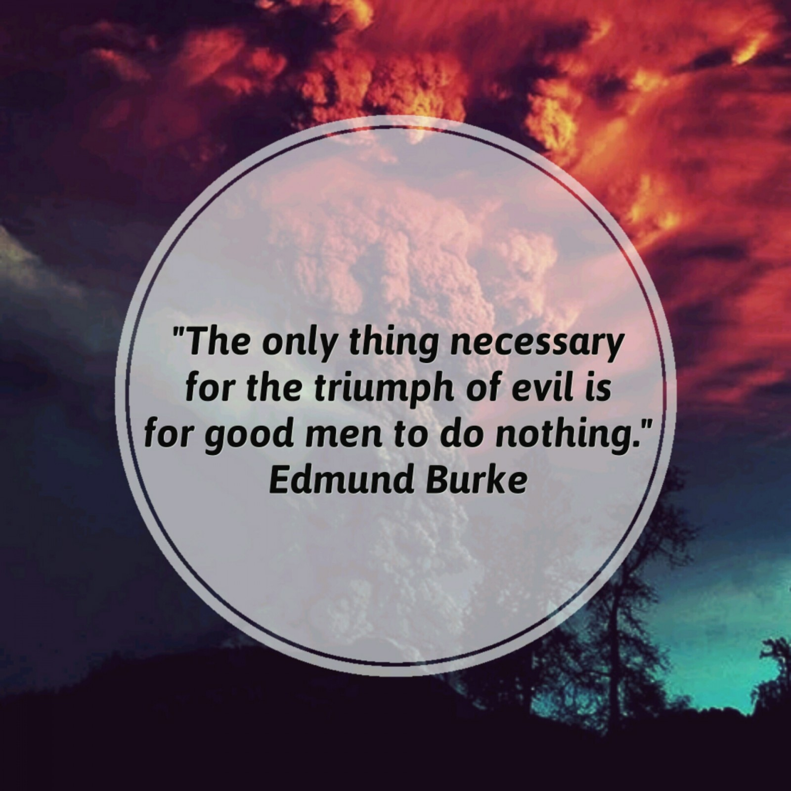 """The only thing necessary for the triumph of evil is for good men to do nothing."" - Edmund Burke"