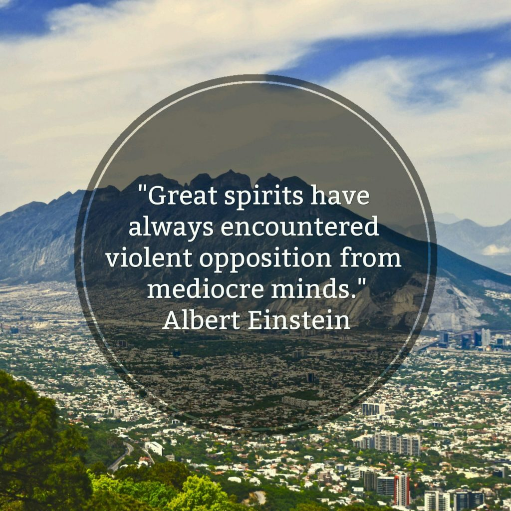 """Great spirits have always encountered violent opposition from mediocre minds."" - Albert Einstein"